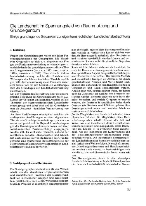 Die Landschaft Im Spannungsfeld Von Raum... by Leu, R.