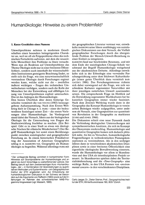 Humanökologie : Hinweise Zu Einem Proble... by Jaeger, C.