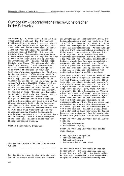 Symposium Geographische Nachwuchsforsche... by Leimgruber, W.