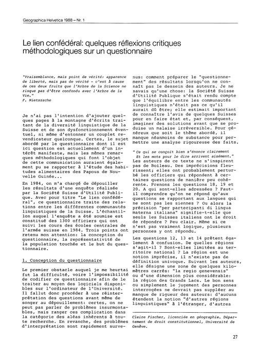 Le Lien Confédéral : Quelques Réflexions... by Fischer, C.