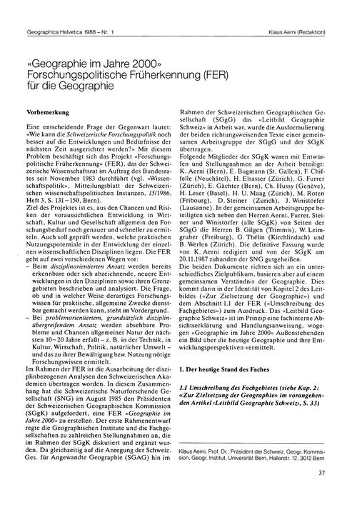 Geographie Im Jahre 2000 : Forschungspol... by Aerni, K.