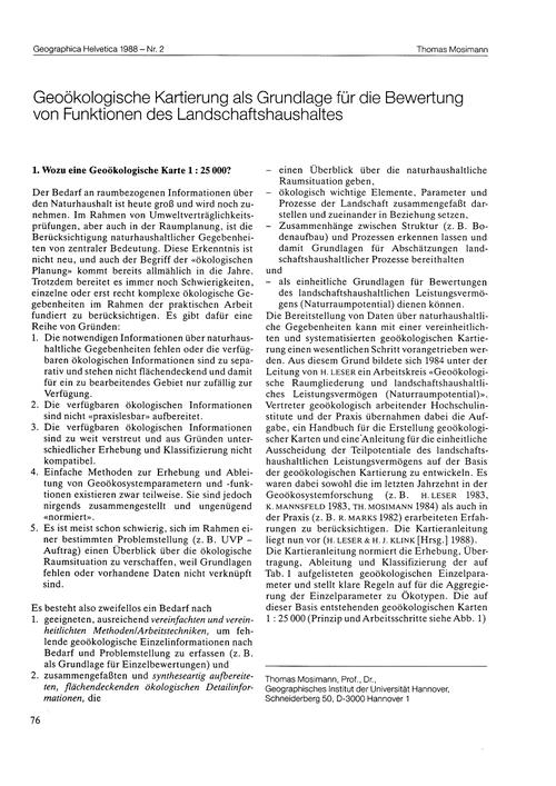 Geoökologische Kartierung Als Grundlage ... by Mosimann, T.