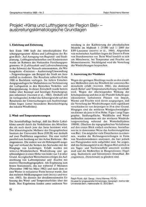 Projekt Klima Und Lufthygiene Der Region... by Rickli, R.