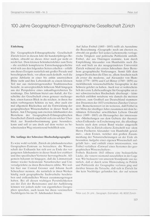 100 Jahre Geographisch-ethnographische G... by Jud, P.