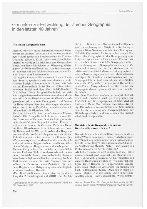 Gedanken Zur Entwicklung Der Zürcher Geo... by Furrer, G.