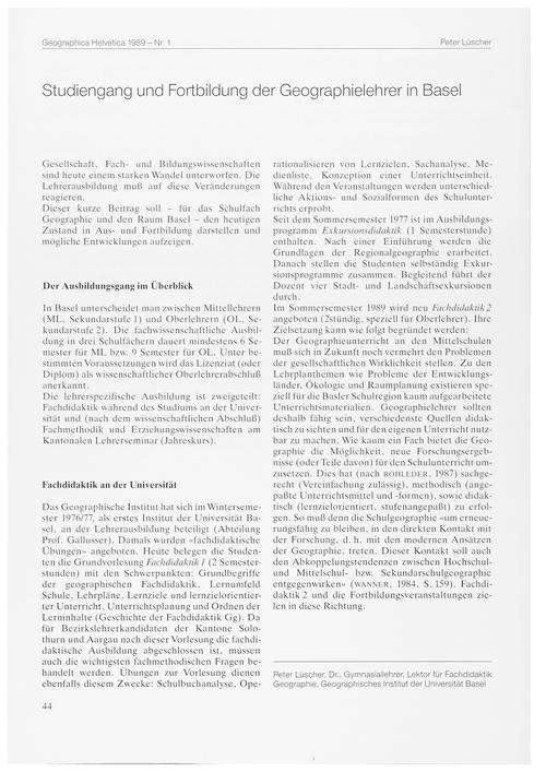 Studiengang Und Fortbildung Der Geograph... by Lüscher, P.
