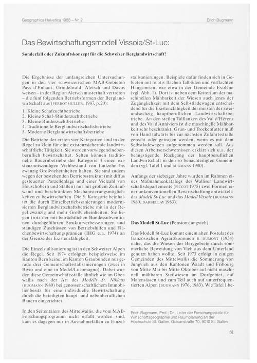 Das Bewirtschaftungsmodell Vissoie/St-lu... by Bugmann, E.