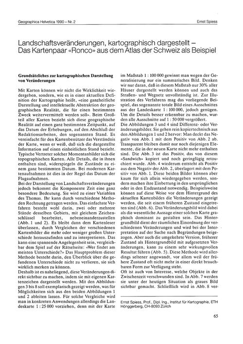 Landschaftsveränderungen, Kartographisch... by Spiess, E.