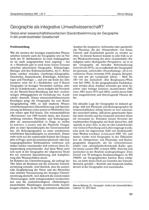 Geographie Als Integrative Umweltwissens... by Bätzing, W.