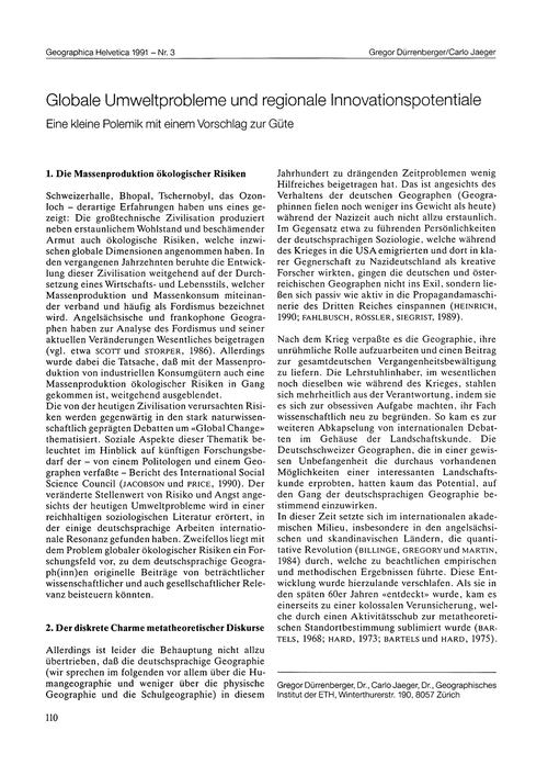 Globale Umweltprobleme Und Regionale Inn... by Dürrenberger, G.