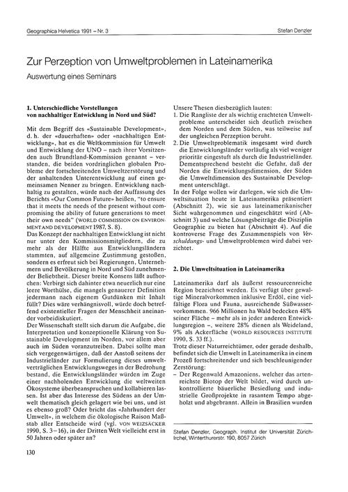 Zur Perzeption Von Umweltproblemen in La... by Denzler, S.