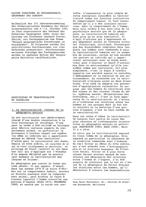 Agriculture Et Territorialité En Valteli... by Torricelli, G. P.