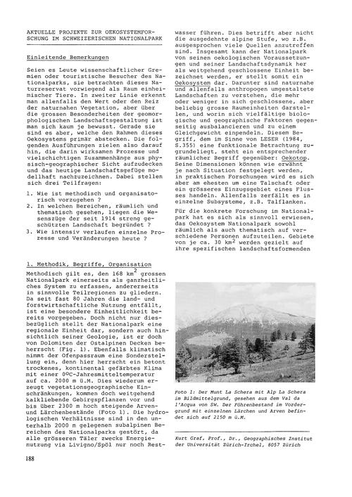 Aktuelle Projekte Zur Oekosystemforschun... by Graf, K.