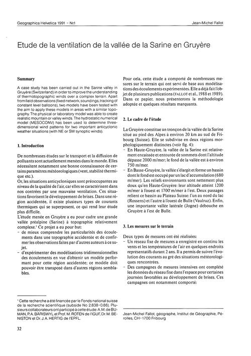 Etude De La Ventilation De La Vallée De ... by Fallot, J.