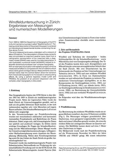Windfelduntersuchung in Zürich : Ergebni... by Schuhmacher, P.