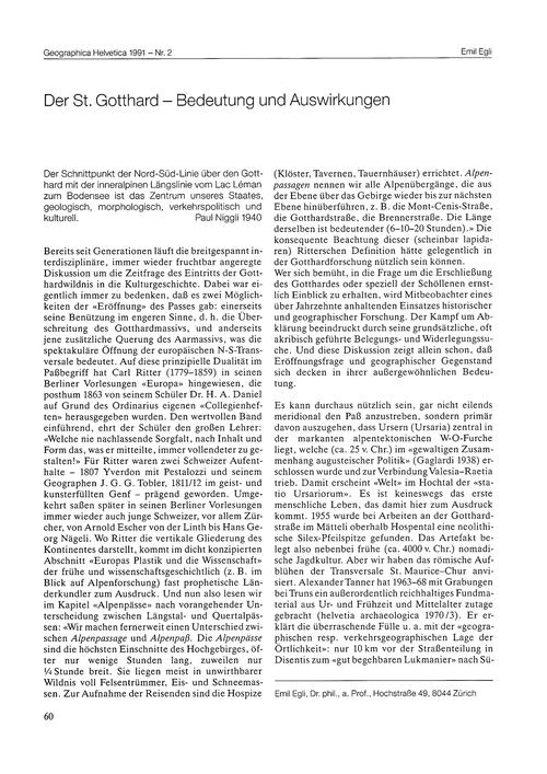 Der St. Gotthard : Bedeutung Und Auswirk... by Egli, E.