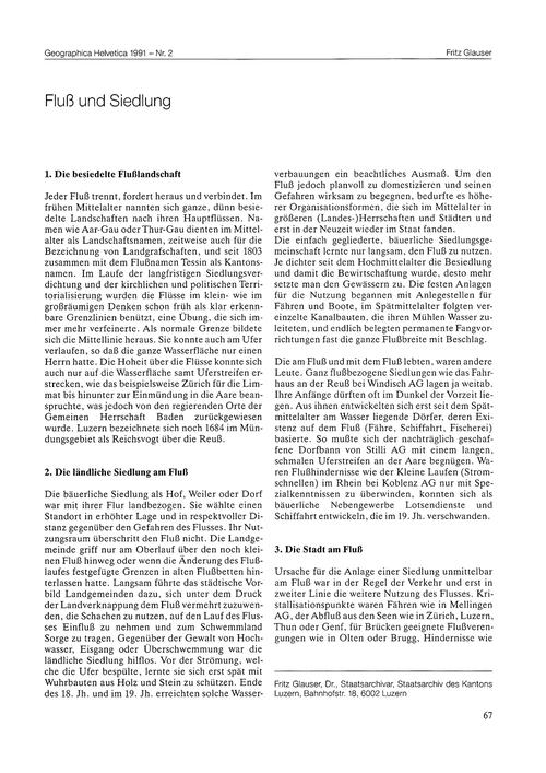 Fluss Und Siedlung : Volume 46, Issue 2 ... by Glauser, F.