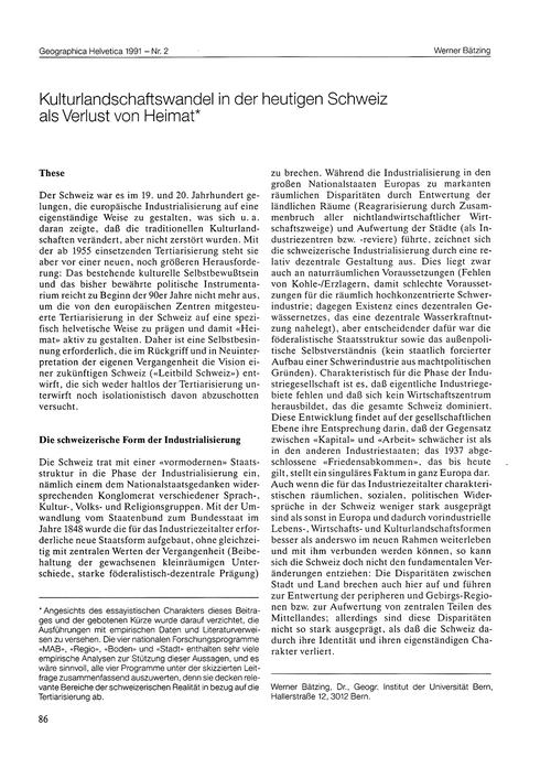 Kulturlandschaftswandel in Der Heutigen ... by Bätzing, W.
