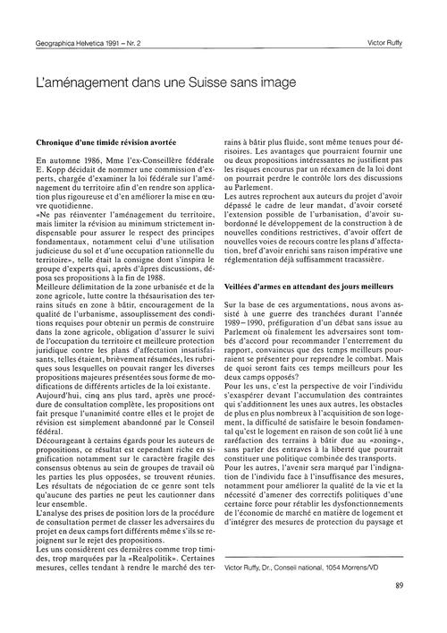 L'Aménagement Dans Une Suisse Sans Image... by Ruffy, V.
