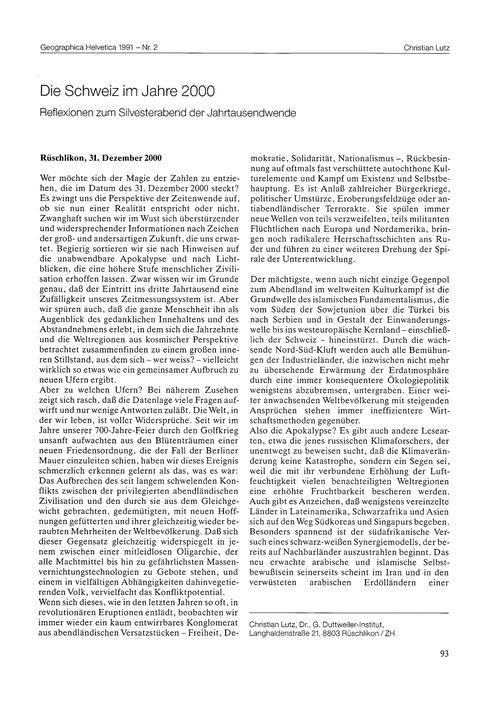 Die Schweiz Im Jahre 2000 : Reflexionen ... by Lutz, C.