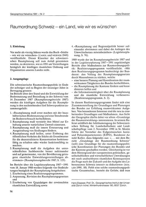 Raumordnung Schweiz : Ein Land, Wie Wir ... by Elsasser, H.