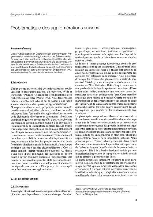 Problématique Des Agglomérations Suisses... by Wolff, J.