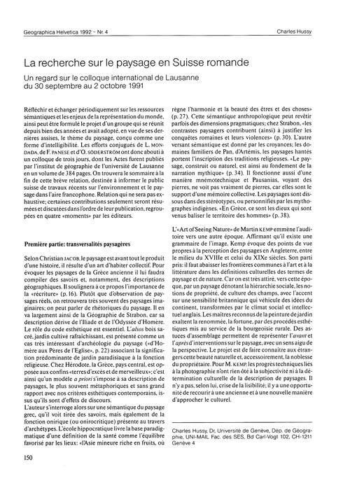 La Recherche Sur Le Paysage En Suisse Ro... by Hussy, C.
