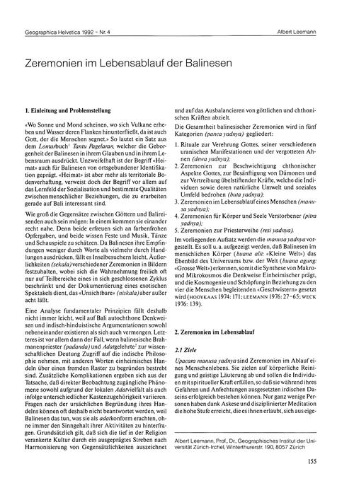 Zeremonien Im Lebensablauf Der Balinesen... by Leemann, A.