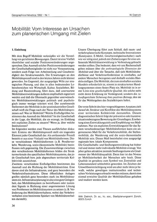 Mobilität : Vom Interesse an Ursachen Zu... by Dietrich, W.
