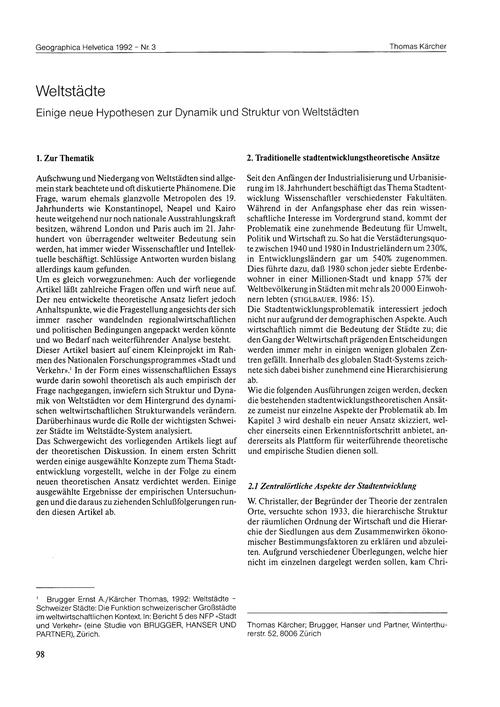 Weltstädte : Einige Neue Hypothesen Zur ... by Kärcher, T.