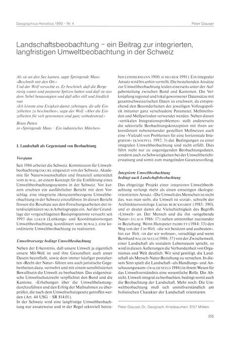 Landschaftsbeobachtung : Ein Beitrag Zur... by Glauser, P.