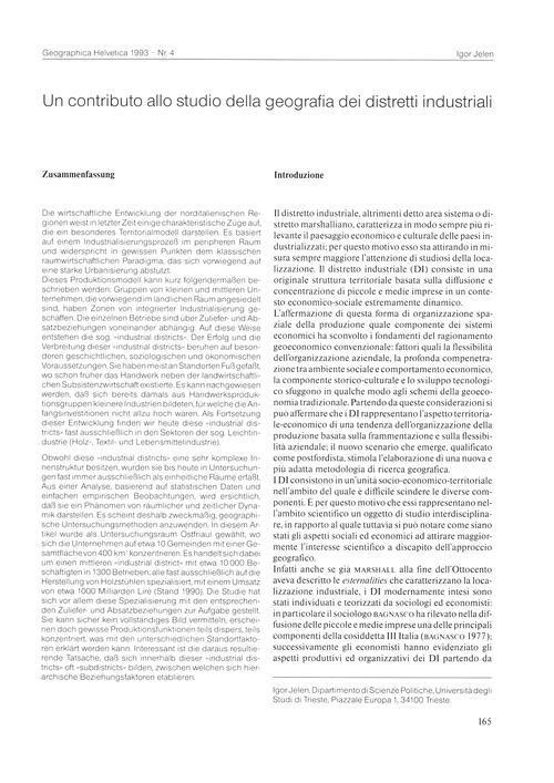 Un Contributo Allo Studio Della Geografi... by Jelen, I.