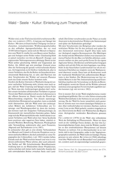 Wald - Seele - Kultur : Einleitung Zum T... by Steiner, D.