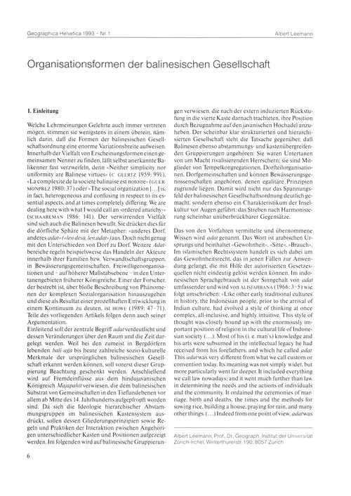 Organisationsformen Der Balinesischen Ge... by Leemann, A.