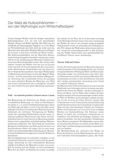 Der Wald Als Kulturphänomen : Von Der My... by Seeland, K.