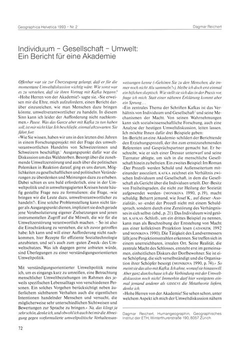 Individuum - Gesellschaft - Umwelt : Ein... by Reichert, D.
