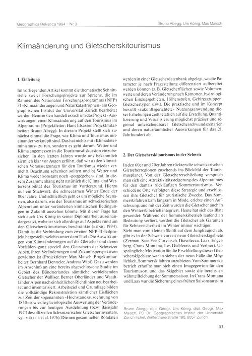 Klimaänderung Und Gletscherskitourismus ... by Abegg, B.