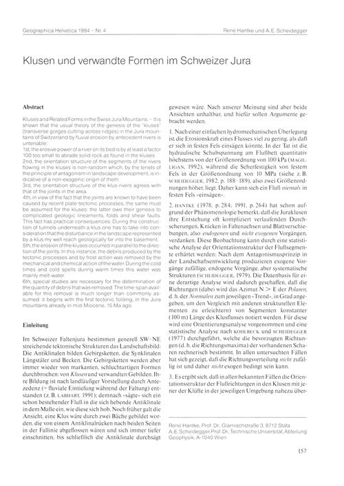 Klusen Und Verwandte Formen Im Schweizer... by Hantke, R.