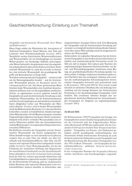 Geschlechterforschung : Einleitung Zum T... by Bühler, E.