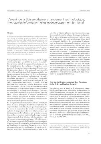 L'Avenir De La Suisse Urbaine : Changeme... by Cunha, A.