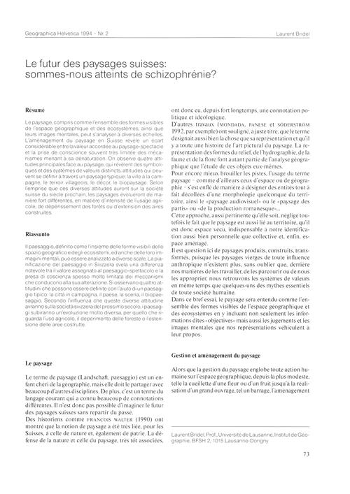 Le Futur Des Paysages Suisses : Sommes-n... by Bridel, L.