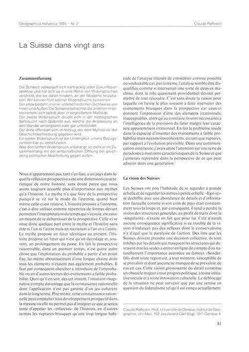 La Suisse Dans Vingt Ans : Volume 49, Is... by Raffestin, C.