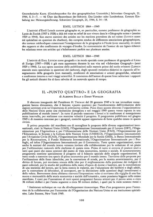 Il Punto Quattro E La Geografia : Volume... by Bally, A.