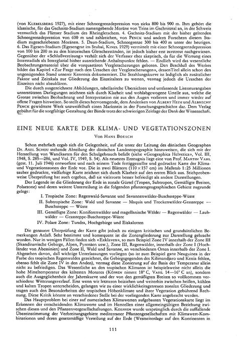 Eine Neue Karte Der Klima- Und Vegetatio... by Boesch, H.