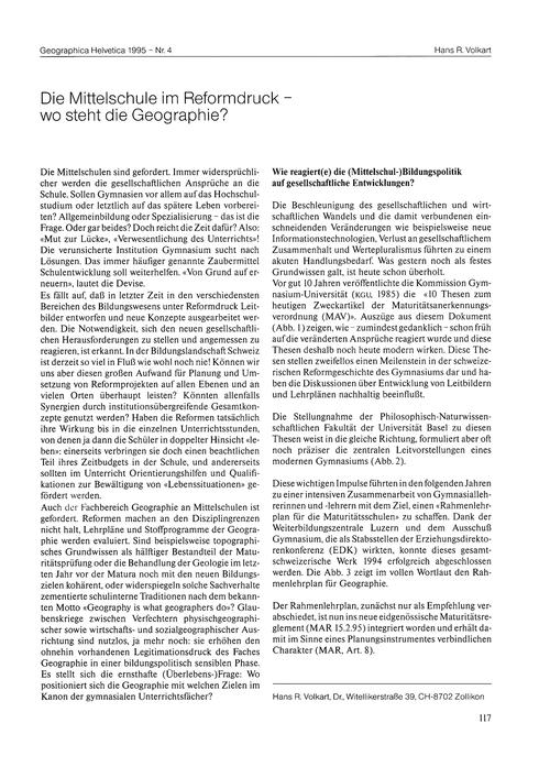 Die Mittelschule Im Reformdruck : Wo Ste... by Volkart, Hans R.