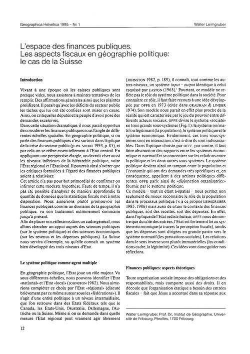 L'Espace Des Finances Publiques : Les As... by Leimgruber, W.