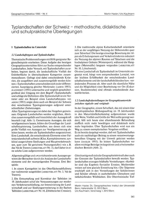 Typlandschaften Der Schweiz : Methodisch... by Hasler, M.