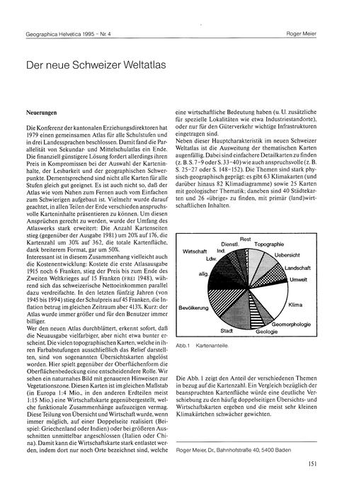Der Neue Schweizer Weltatlas : Volume 50... by Meier, R.