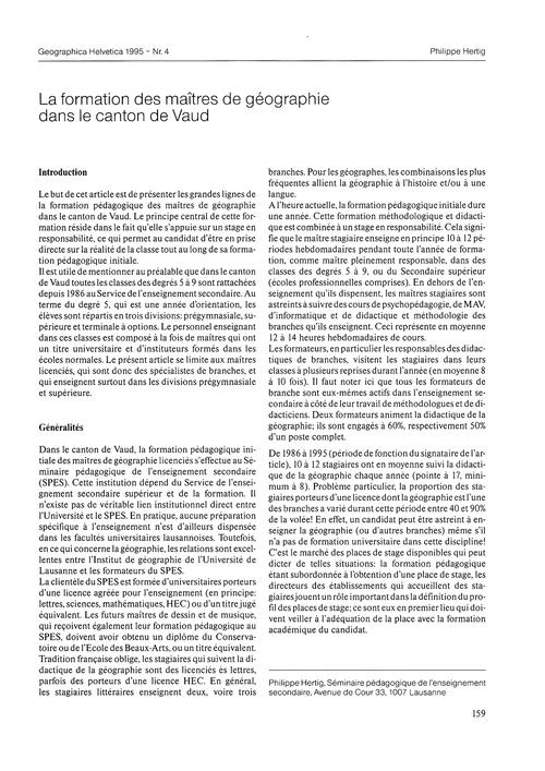 La Formation Des Maîtres De Géographie D... by Hertig, P.