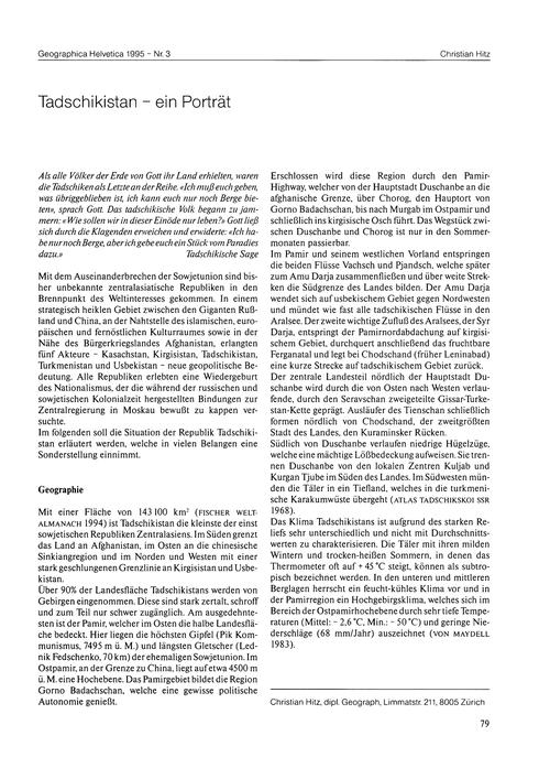 Tadschikistan : Ein Porträt : Volume 50,... by Hitz, C.